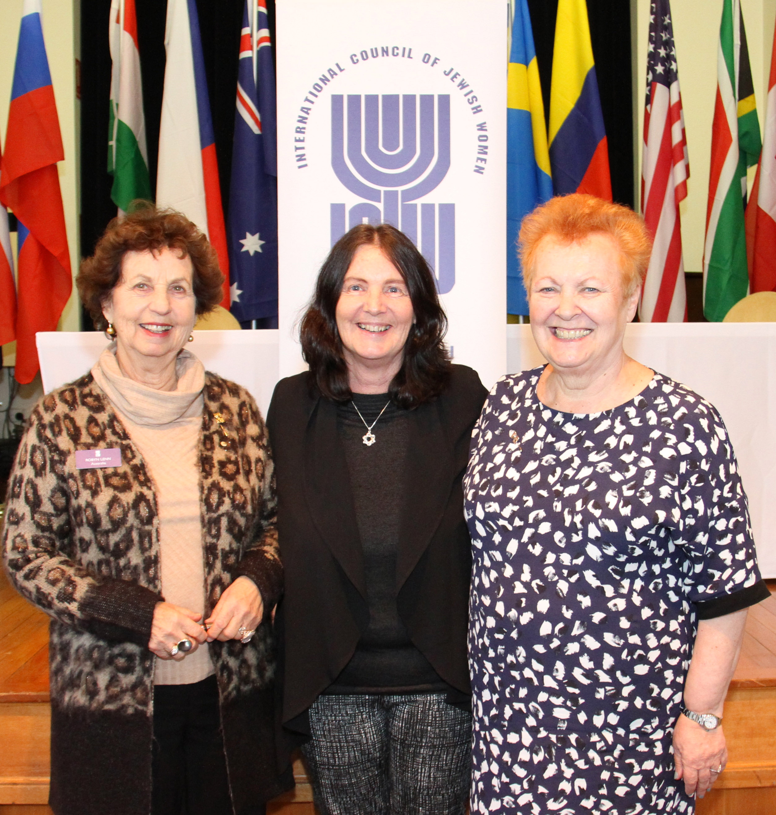 Left to right: Robyn Lenn (outgoing ICJW president), Julie Nathan, and Penelope Conway (incoming ICJW president).